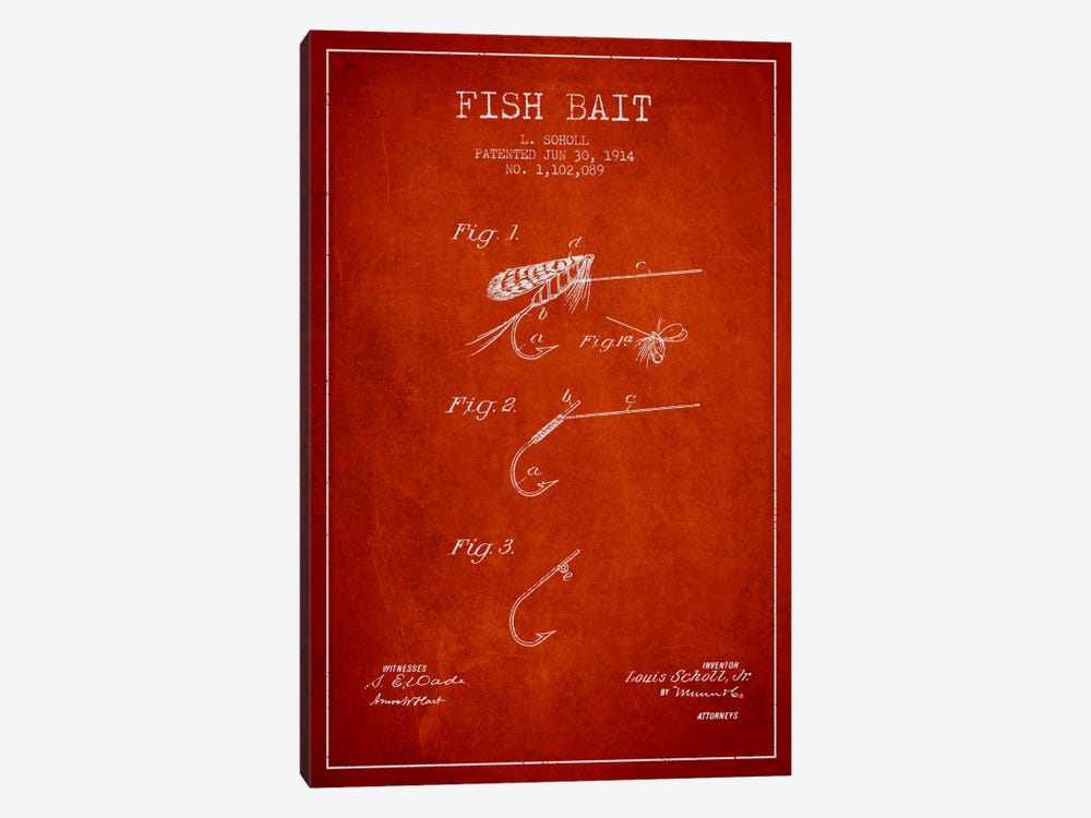 Fish Bait Red Patent Blueprint 1-piece Canvas Artwork