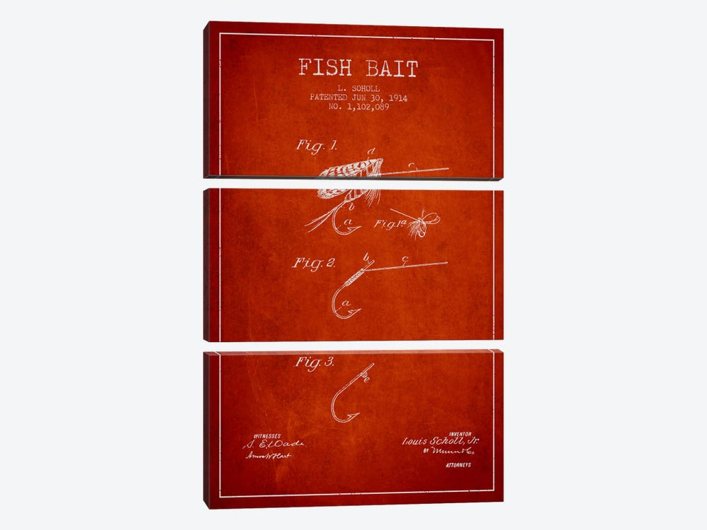 Fish Bait Red Patent Blueprint by Aged Pixel 3-piece Canvas Art