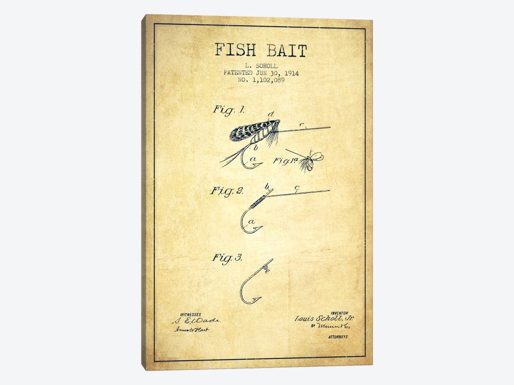 Fish Bait Vintage Patent Blueprint by Aged Pixel 1-piece Canvas Print