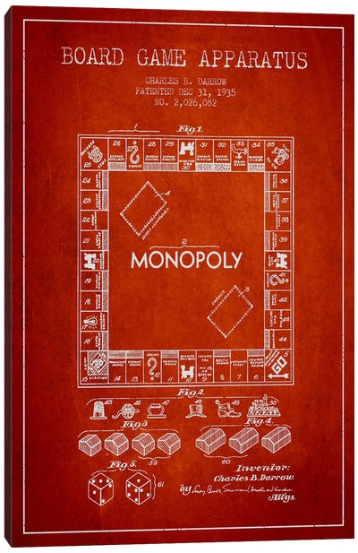 Monopoly Red Patent Blueprint Canvas Art Print
