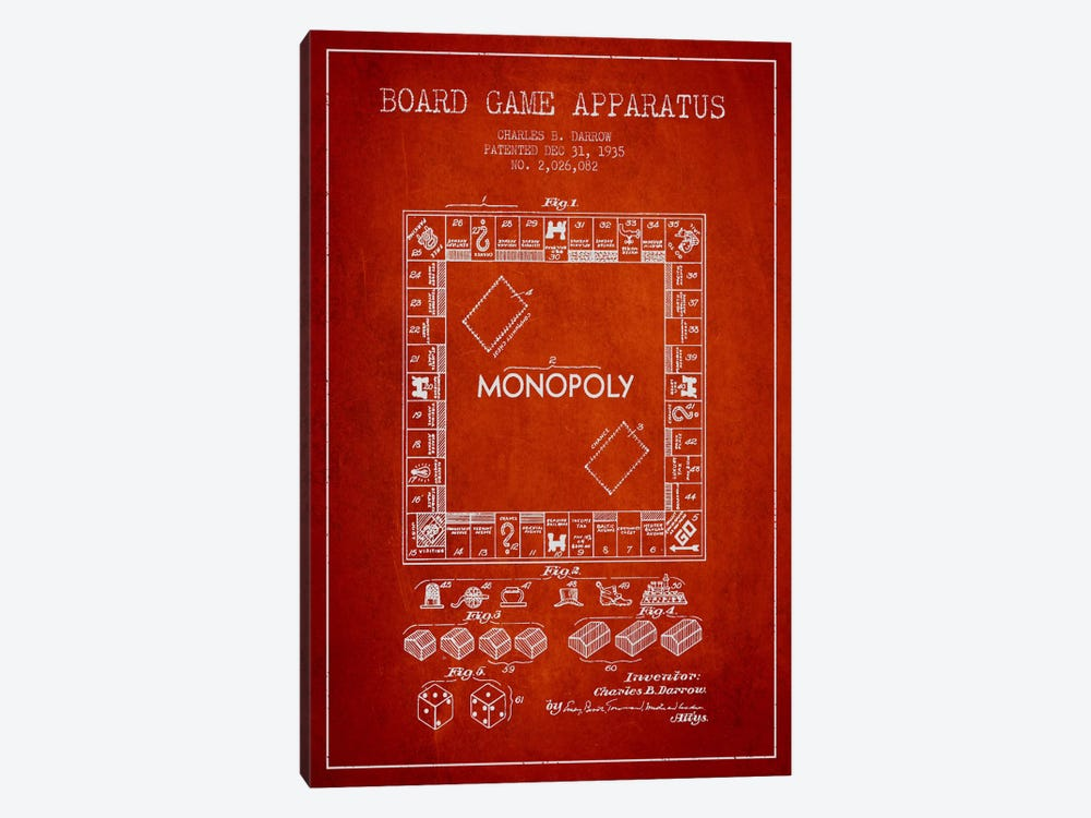 Monopoly Red Patent Blueprint by Aged Pixel 1-piece Canvas Art