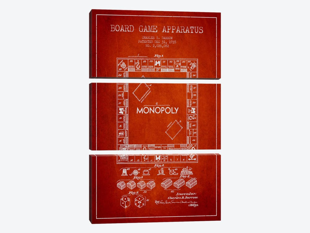 Monopoly Red Patent Blueprint by Aged Pixel 3-piece Canvas Artwork