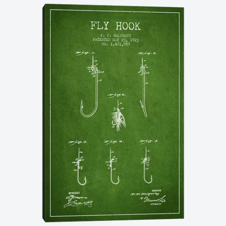 Fly Hook Green Patent Blueprint Canvas Print #ADP1250} by Aged Pixel Canvas Art Print