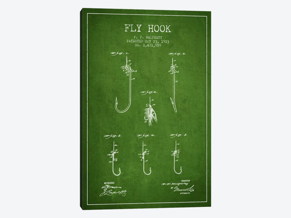Fly Hook Green Patent Blueprint by Aged Pixel 1-piece Canvas Art