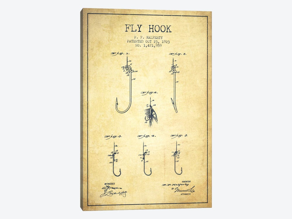 Fly Hook Vintage Patent Blueprint by Aged Pixel 1-piece Canvas Art Print