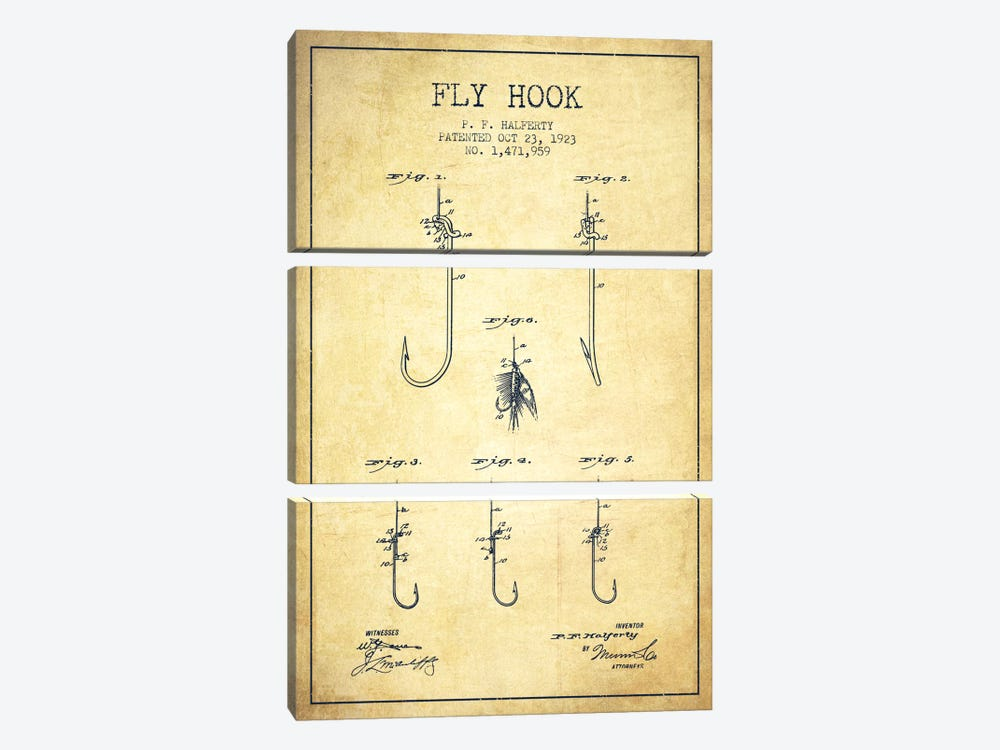 Fly Hook Vintage Patent Blueprint by Aged Pixel 3-piece Canvas Art Print