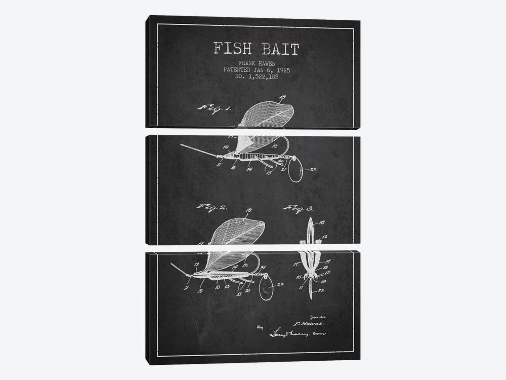 Fish Bait Charcoal Patent Blueprint by Aged Pixel 3-piece Canvas Wall Art