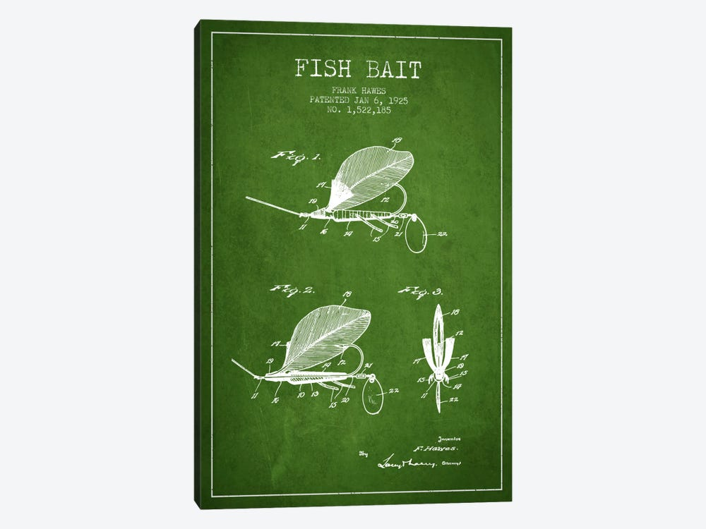 Fish Bait Green Patent Blueprint by Aged Pixel 1-piece Art Print