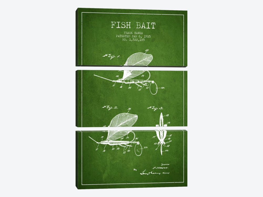 Fish Bait Green Patent Blueprint by Aged Pixel 3-piece Canvas Art Print