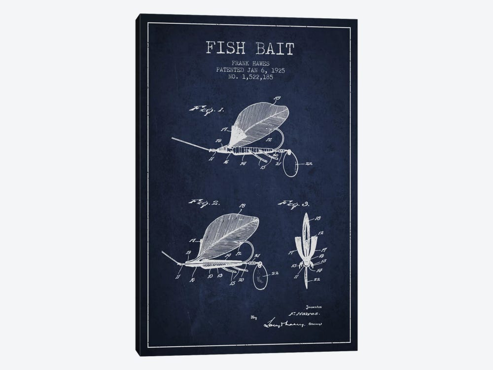 Fish Bait Navy Blue Patent Blueprint by Aged Pixel 1-piece Canvas Wall Art