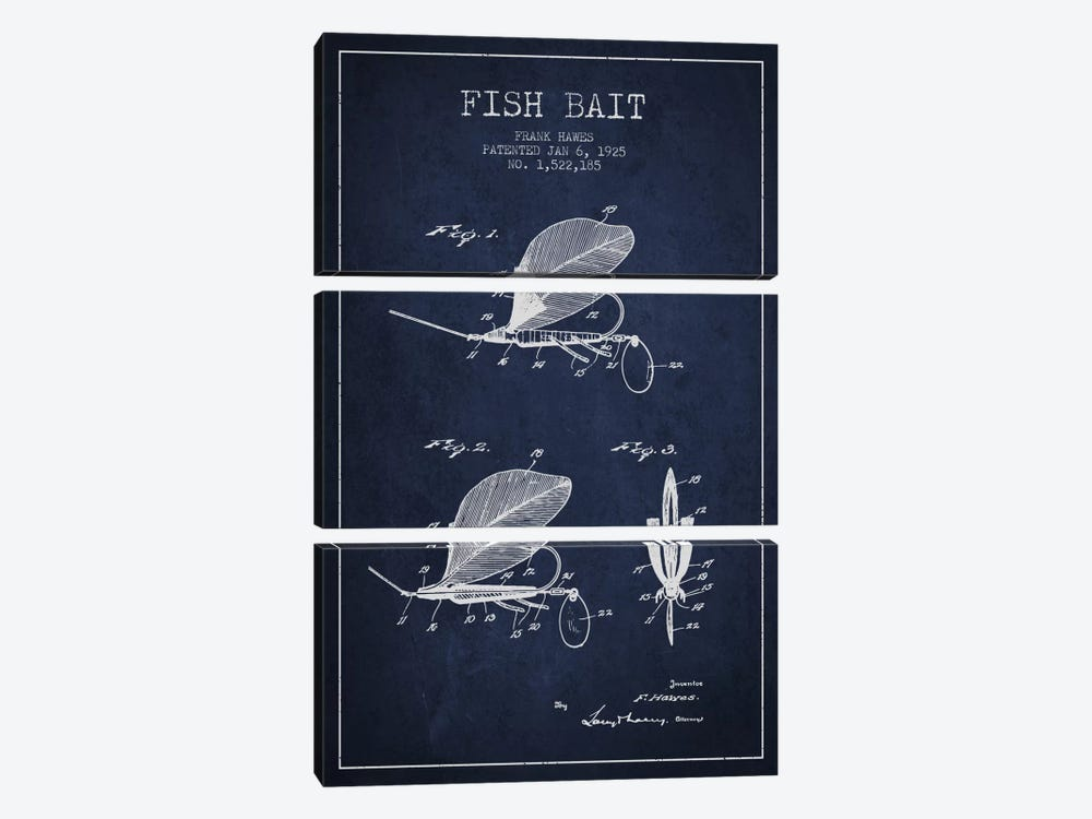 Fish Bait Navy Blue Patent Blueprint by Aged Pixel 3-piece Canvas Wall Art