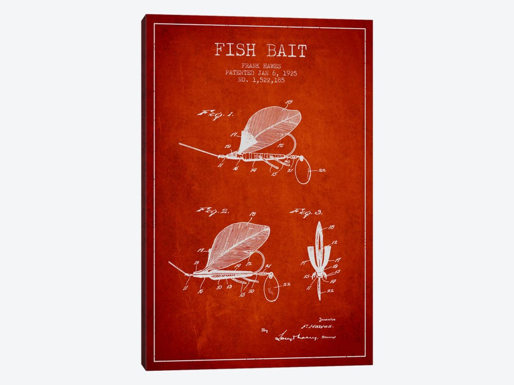 Fish Bait Red Patent Blueprint by Aged Pixel 1-piece Canvas Print