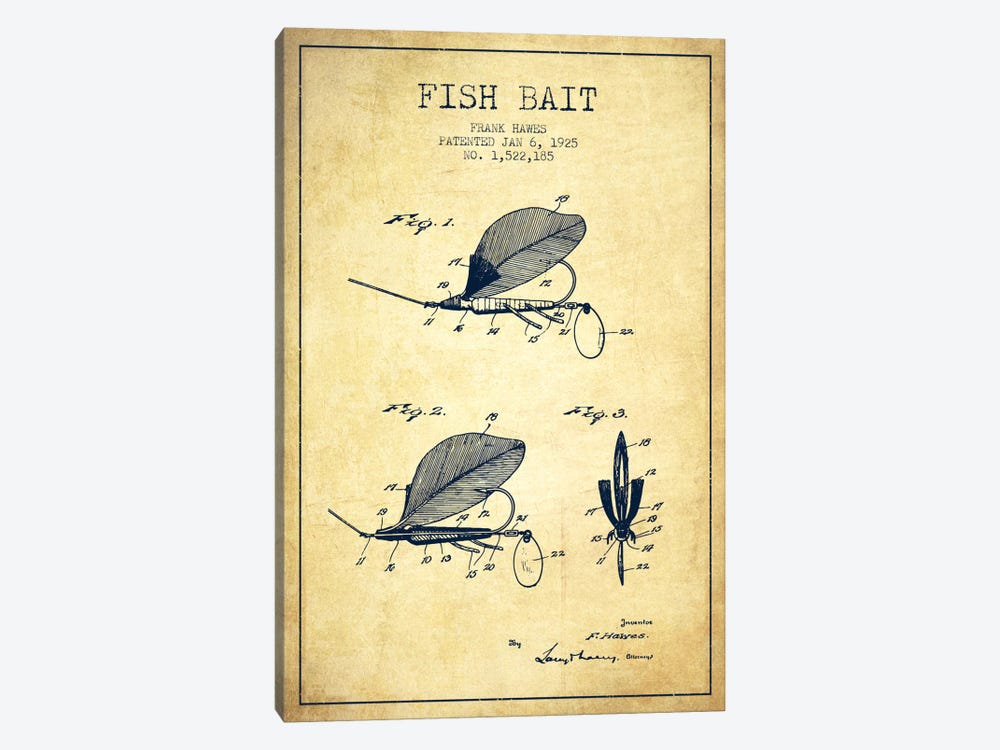 Fish Bait Vintage Patent Blueprint 1-piece Canvas Art