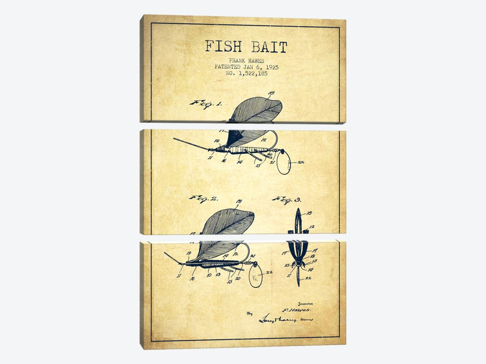 Fish Bait Vintage Patent Blueprint by Aged Pixel 3-piece Canvas Art