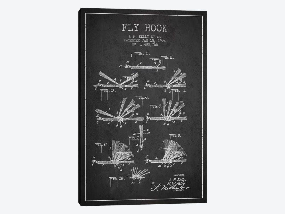 Fly Hook Charcoal Patent Blueprint by Aged Pixel 1-piece Canvas Art Print