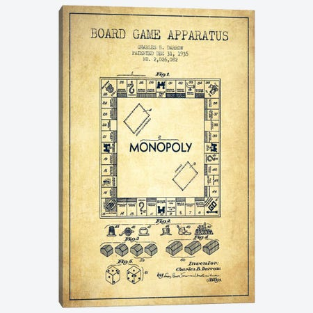 Monopoly Vintage Patent Blueprint Canvas Print #ADP125} by Aged Pixel Canvas Print