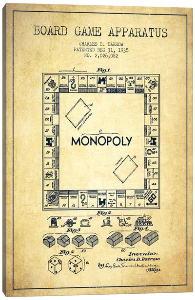 Monopoly Vintage Patent Blueprint Canvas Art Print
