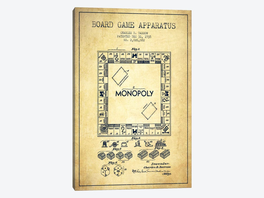 Monopoly Vintage Patent Blueprint by Aged Pixel 1-piece Canvas Print