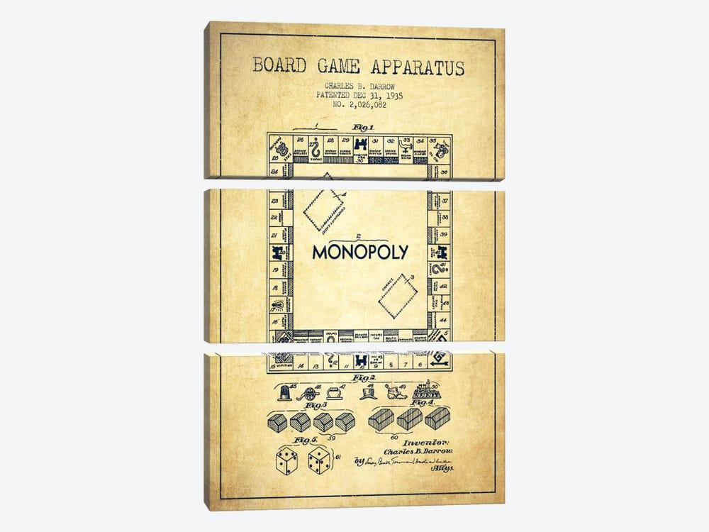 Monopoly Vintage Patent Blueprint by Aged Pixel 3-piece Art Print