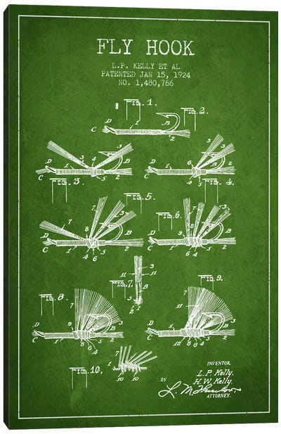Fly Hook Green Patent Blueprint Canvas Print #ADP1260