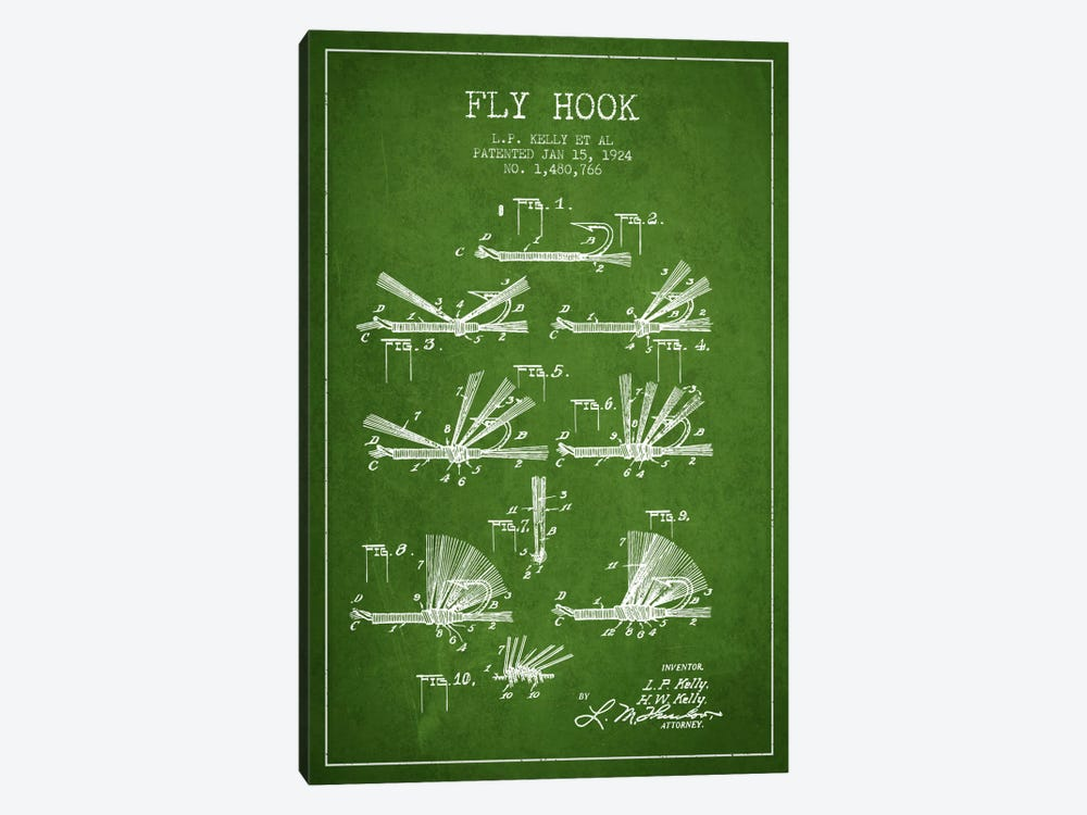 Fly Hook Green Patent Blueprint 1-piece Canvas Art Print