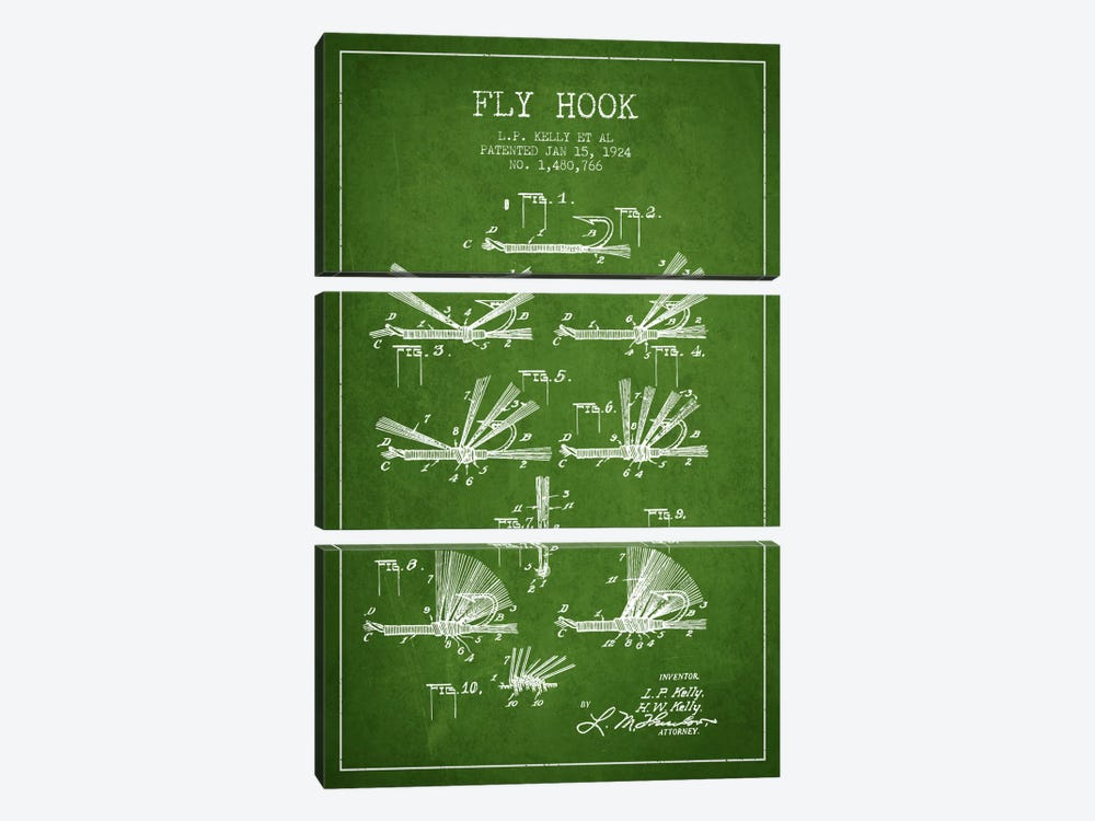 Fly Hook Green Patent Blueprint 3-piece Canvas Print