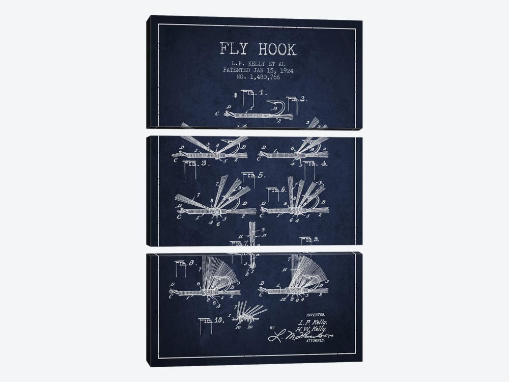 Fly Hook Navy Blue Patent Blueprint by Aged Pixel 3-piece Canvas Artwork