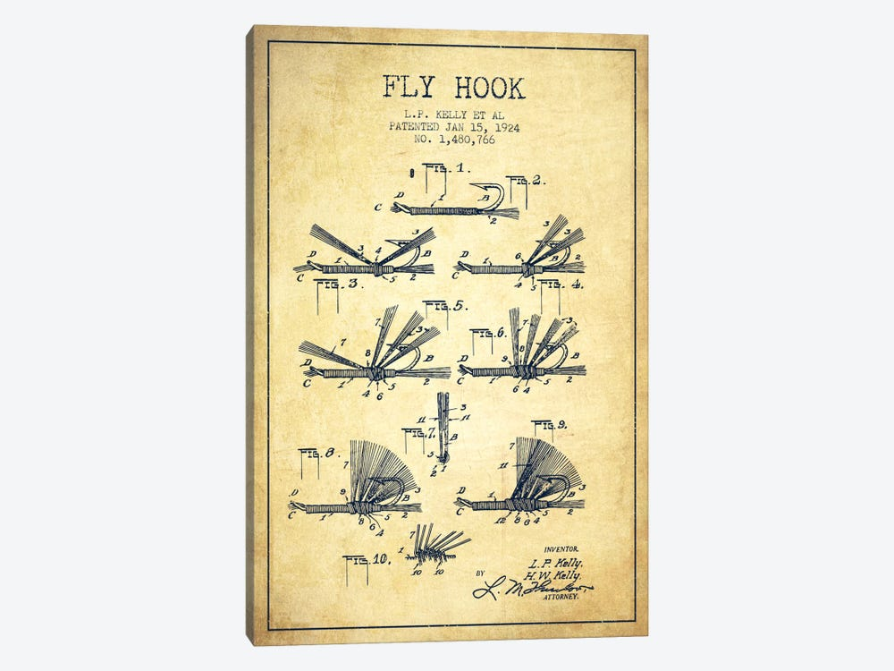Fly Hook Vintage Patent Blueprint by Aged Pixel 1-piece Canvas Wall Art