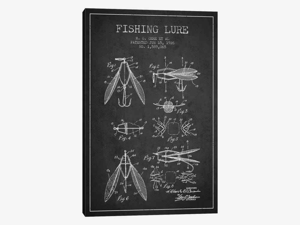 Fishing Lure Charcoal Patent Blueprint by Aged Pixel 1-piece Art Print