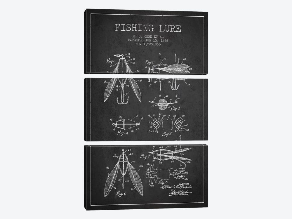 Fishing Lure Charcoal Patent Blueprint by Aged Pixel 3-piece Canvas Print