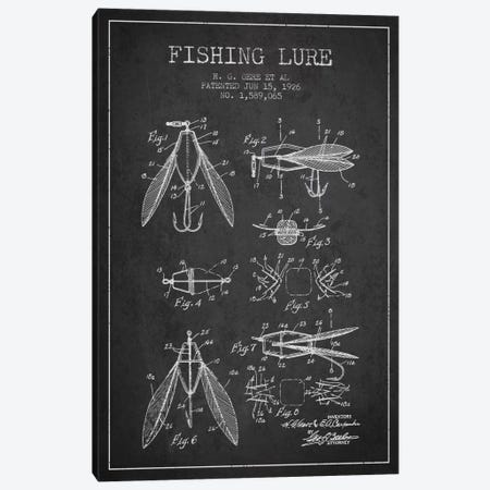 Fishing Lure Charcoal Patent Blueprint Canvas Print #ADP1264} by Aged Pixel Canvas Print