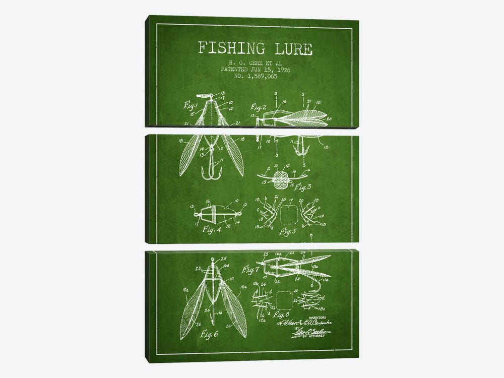 Fishing Lure Green Patent Blueprint by Aged Pixel 3-piece Canvas Artwork