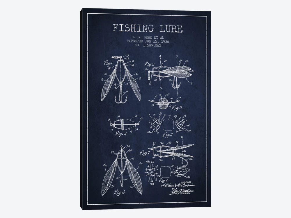 Fishing Lure Navy Blue Patent Blueprint by Aged Pixel 1-piece Art Print