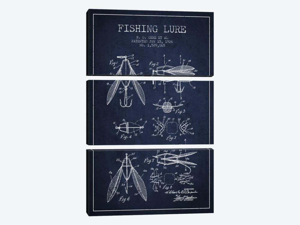 Fishing Lure Navy Blue Patent Blueprint by Aged Pixel 3-piece Canvas Print