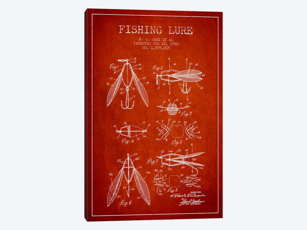 Fishing Lure Red Patent Blueprint by Aged Pixel 1-piece Canvas Wall Art