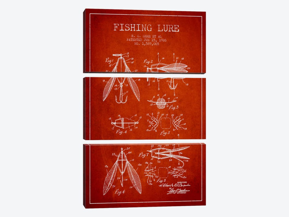 Fishing Lure Red Patent Blueprint by Aged Pixel 3-piece Canvas Artwork