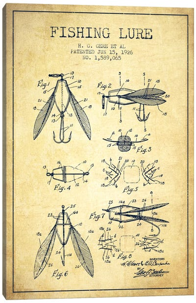 Fishing Lure Vintage Patent Blueprint Canvas Print #ADP1268
