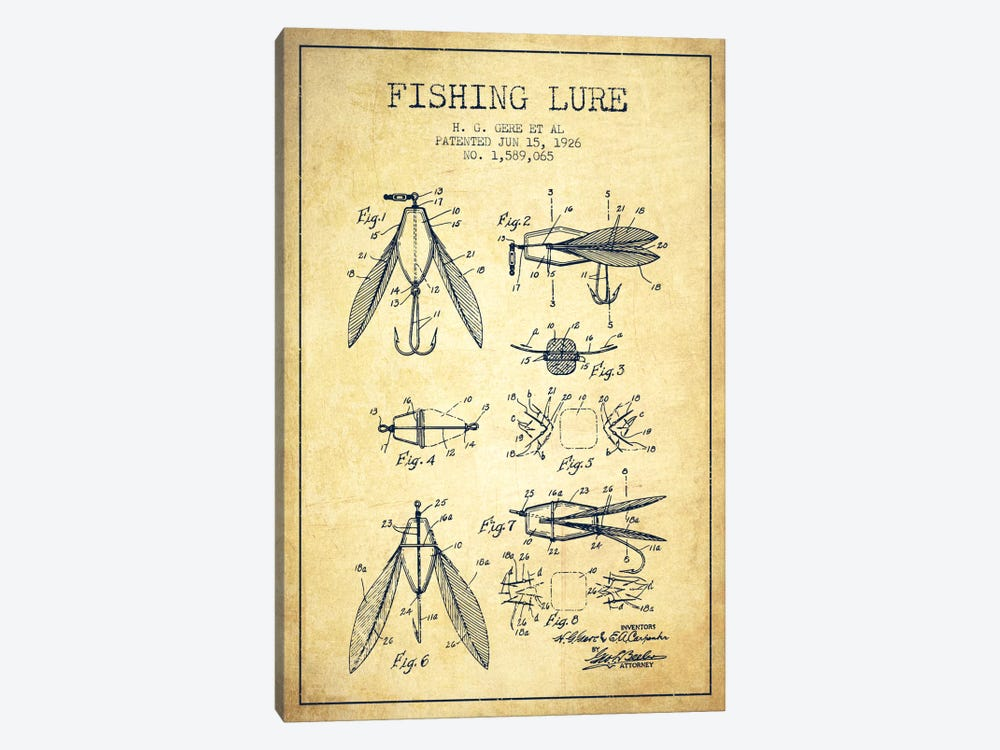 Fishing Lure Vintage Patent Blueprint 1-piece Canvas Print