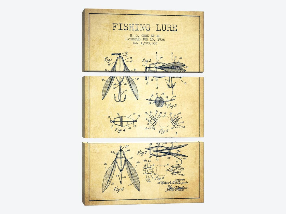 Fishing Lure Vintage Patent Blueprint by Aged Pixel 3-piece Canvas Art Print