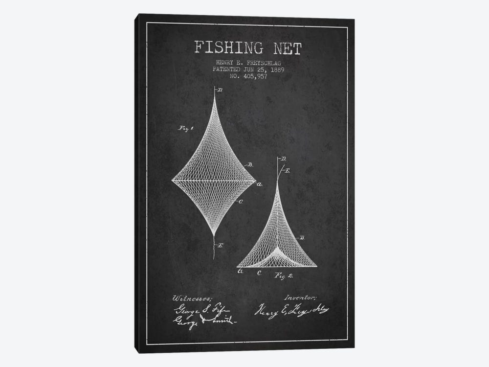 Fishing Net Charcoal Patent Blueprint by Aged Pixel 1-piece Canvas Art