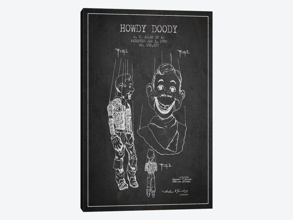 Howdy Doody Dark Patent Blueprint by Aged Pixel 1-piece Canvas Art