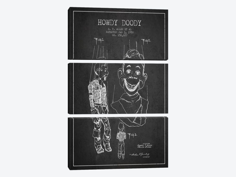 Howdy Doody Dark Patent Blueprint by Aged Pixel 3-piece Canvas Artwork
