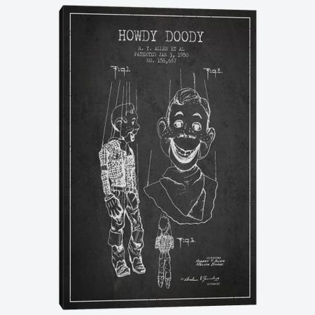 Howdy Doody Dark Patent Blueprint Canvas Print #ADP126} by Aged Pixel Canvas Art Print