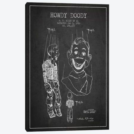 Howdy Doody Dark Patent Blueprint Canvas Print #ADP126} by Aged Pixel Canvas Art Print