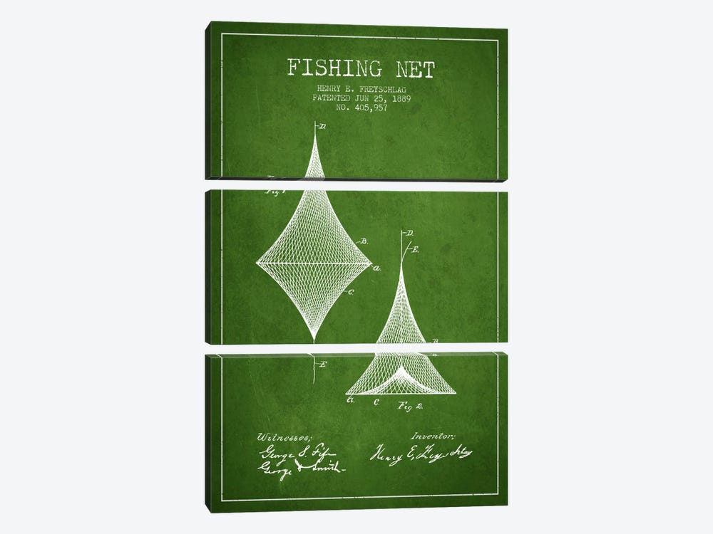 Fishing Net Green Patent Blueprint by Aged Pixel 3-piece Canvas Artwork