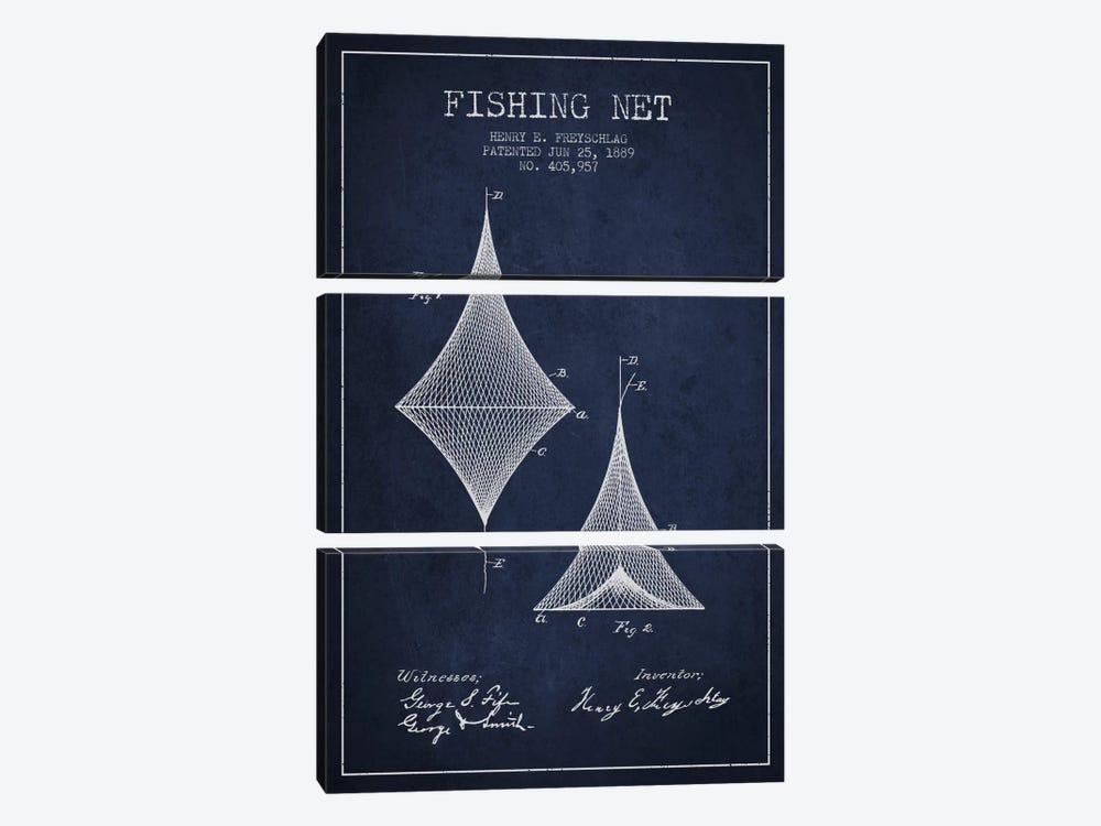 Fishing Net Navy Blue Patent Blueprint by Aged Pixel 3-piece Art Print