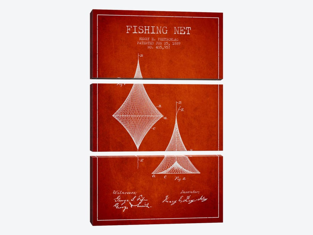 Fishing Net Red Patent Blueprint by Aged Pixel 3-piece Canvas Art