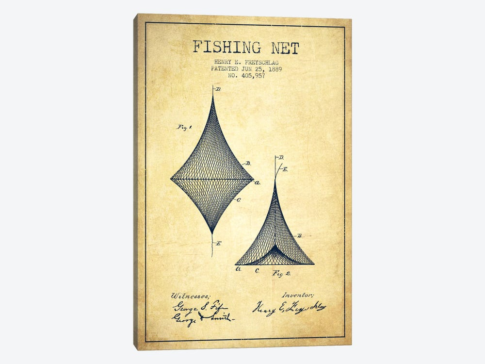 Fishing Net Vintage Patent Blueprint by Aged Pixel 1-piece Art Print