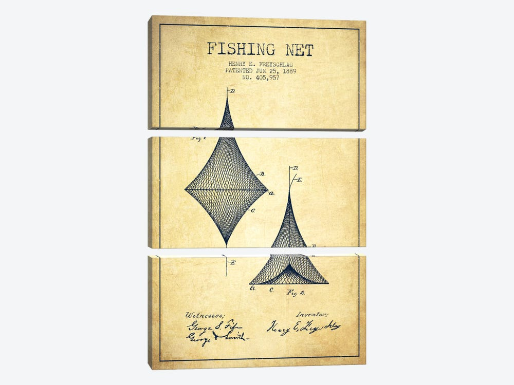 Fishing Net Vintage Patent Blueprint by Aged Pixel 3-piece Canvas Art Print