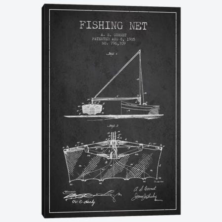 Fishing Net Charcoal Patent Blueprint Canvas Print #ADP1274} by Aged Pixel Canvas Art